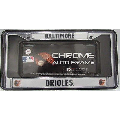 MLB Baltimore Orioles Chrome License Plate Frame Thin Black Letters