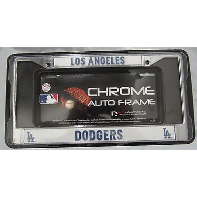 mlb los angeles dodgers chrome license plate frame thin blue letters