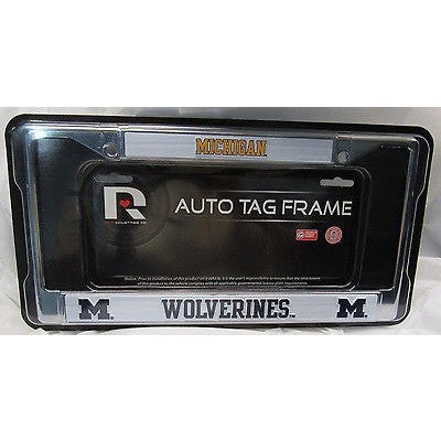 NCAA Michigan Wolverines Chrome License Plate Frame 2 Color Letters