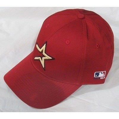 MLB Houston Astros Adult Cap Curved Brim Raised Replica Cotton Twill Hat Brick Red