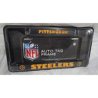 NFL Pittsburgh Steelers Black Chrome License Plate Frame Thick Letters