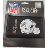 NFL Miami Dolphins Tri-fold Nylon Wallet with Printed Helmet