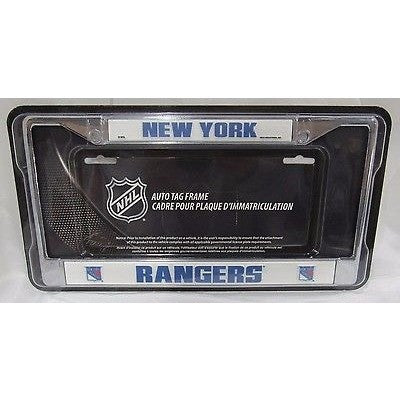 NHL New York Rangers Chrome License Plate Frame Thick Blue Letters