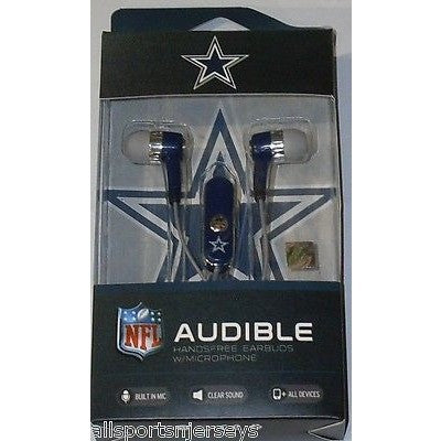NFL Dallas Cowboys Team Logo Earphones with Microphone by MIZCO