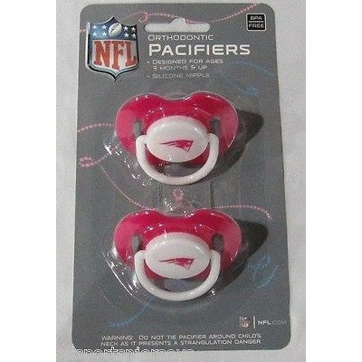 NFL New England Patriots Pink Pacifiers Set of 2 w/ Solid Shield on Card