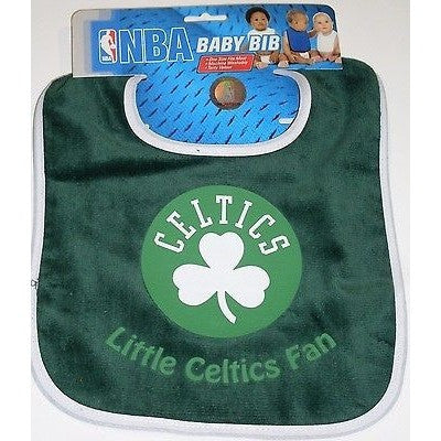NBA Little Boston Celtics Fan Infant Baby Bib Green White Trim Wincraft