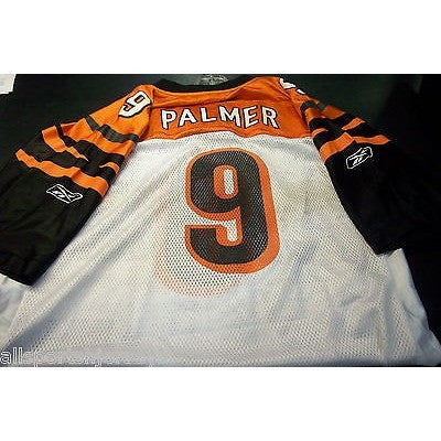 BLEMISHED NFL CINCINNATI BENGALS CARSON PALMER # 9 AWAY COLORS REEBOK JERSEY XL