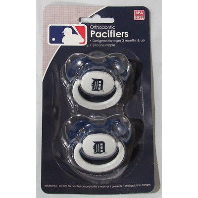 MLB Detroit Tigers Pacifiers Set of 2 w/ Solid Color Shield on Card