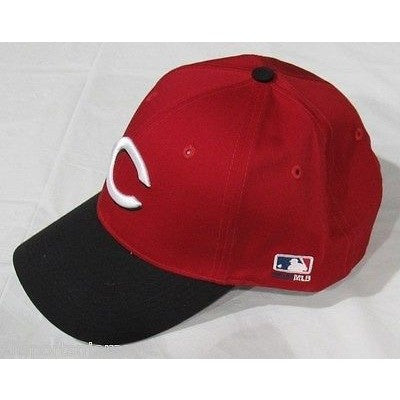 MLB Cincinnati Reds Adult Cap Curved Brim Raised Replica Cotton Twill Hat Black/Red