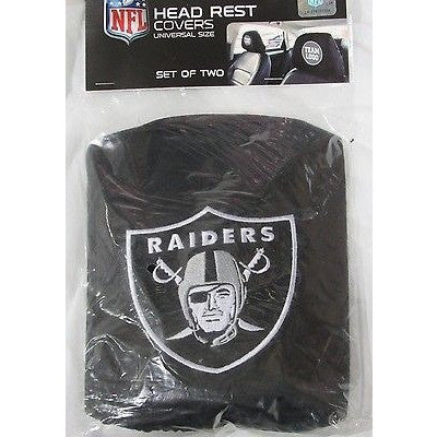 NFL Oakland Raiders Headrest Cover Embroidered Logo Set of 2 by Team ProMark