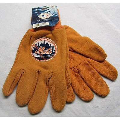 MLB NWT NO SLIP ALL ORANGE UTILITY WORK GLOVES ROUND LOGO - NEW YORK METS