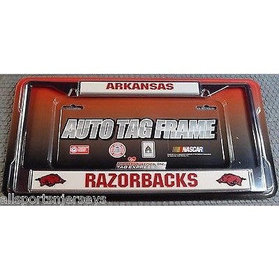 NCAA Arkansas Razorbacks Chrome License Plate Frame Staight Letters