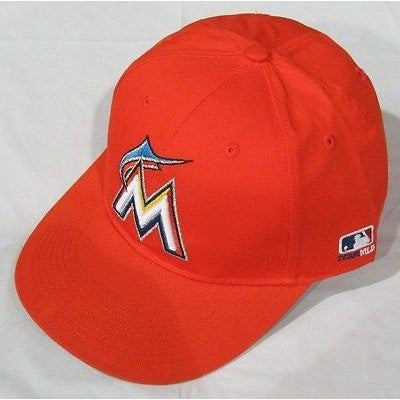 MLB Miami Marlins Adult Cap Flat Brim Raised Replica Cotton Twill Hat All Orange