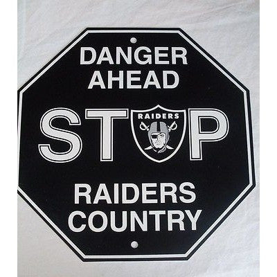 "NFL Las Vegas Raiders Plastic Styrene Team Stop Sign 12""x 12"""