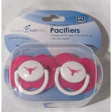 NCAA Texas Longhorns Pink Pacifiers Set of 2 w/ Solid Shield in Case