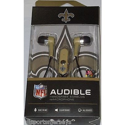 NFL New Orleans Saints Team Logo Earphones with Microphone by MIZCO
