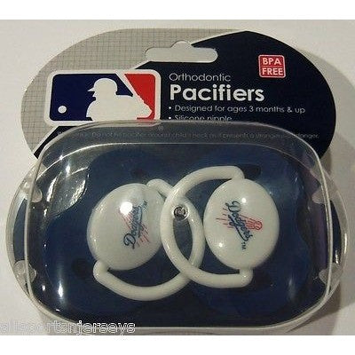 MLB Los Angeles Dodgers Pacifiers Set of 2 w/ Solid Color Shield in Case