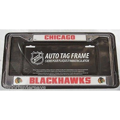 NHL Chicago Blackhawks Chrome License Plate Frame Thick Letters