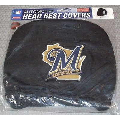 MLB Milwaukee Brewers Headrest Cover Embroidered Alt Logo Set of 2 by Team ProMark