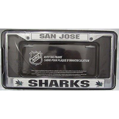 NHL San Jose Sharks Chrome License Plate Frame Thick Letters