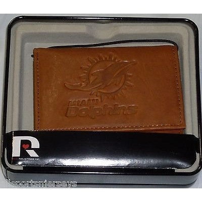 NFL Miami Dolphins Embossed TriFold Leather Wallet With Gift Box