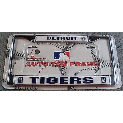 MLB Detroit Tigers Chrome License Plate Frame Thick Letters
