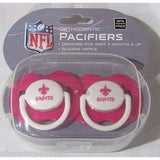 NFL New Orleans Saints Pink Pacifiers Set of 2 w/ Solid Shield in Case