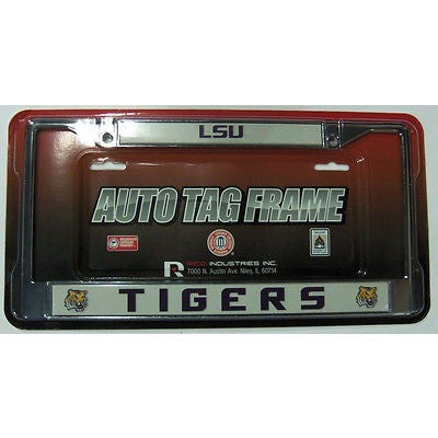 NCAA LSU Louisiana State Tigers Chrome License Plate Frame 2nd Logo Thick Purple Letters