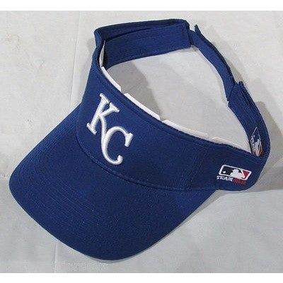 MLB KANSAS CITY ROYALS VISOR COTTON TWILL REPLICA ADJUSTABLE STRAP ADULT ROYAL BLUE
