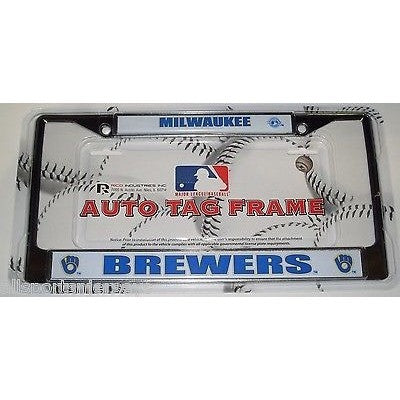 MLB Milwaukee Brewers Chrome License Plate Frame Thick Letters