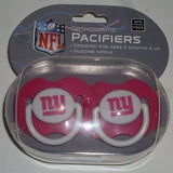 NFL New York Giants Pink Pacifiers Set of 2 w/ Solid Shield in Case