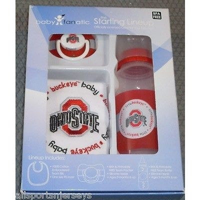 NCAA Ohio State Buckeyes Gift Set Bottle Bib Pacifier by baby fanatic