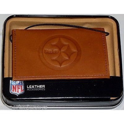 NFL Embossed TriFold Leather Wallet With Gift Box Pittsburgh Steelers