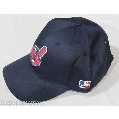 MLB Cleveland Indians Adult Cap Curved Brim Raised Replica Cotton Twill Hat Navy Road