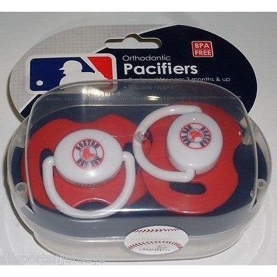 MLB Boston Red Sox Pacifiers Set of 2 w/ Solid Color Shield in Case