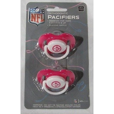NFL Pittsburgh Steelers Pink Pacifiers Set of 2 w/ Solid Shield on Card
