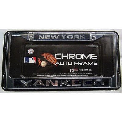 MLB New York Yankees Chrome License Plate Frame Laser Cut