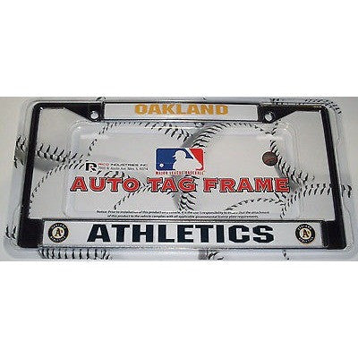 MLB Oakland Athletics Chrome License Plate Frame 2 Color Thick Letters