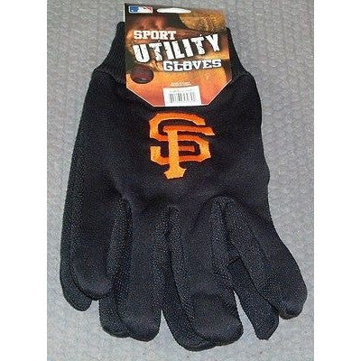 MLB NWT NO SLIP UTILITY WORK GLOVES ALL BLACK - SAN FRANCISCO GIANTS