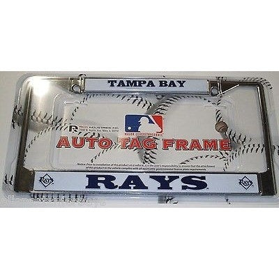 MLB Tampa Bay Rays Chrome License Plate Frame Thick Letters