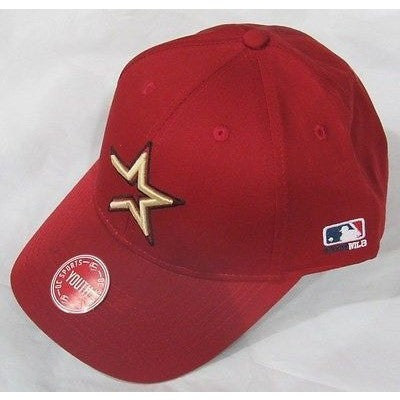 MLB Houston Astros Youth Cap Flat Brim Raised Replica Cotton Twill Hat Brick Red
