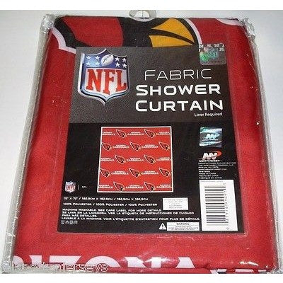 NFL 72 X 72 Inch Fabric Shower Curtain Arizona Cardinals