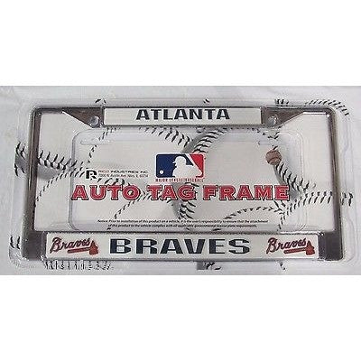 MLB Atlanta Braves Chrome License Plate Frame Thin Letters