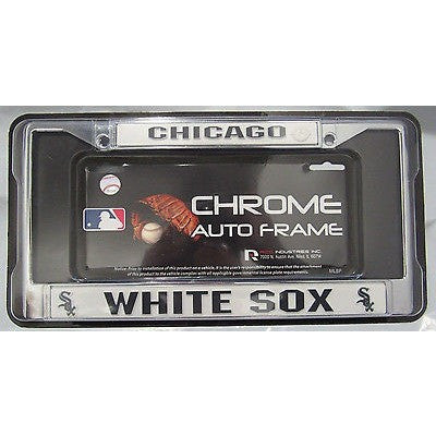 MLB Chicago White Sox Chrome License Plate Frame Thin Letters