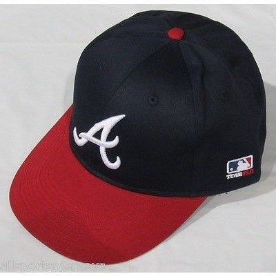 MLB Atlanta Braves Adult Cap Flat Brim Raised Replica Cotton Twill Hat Navy/Red