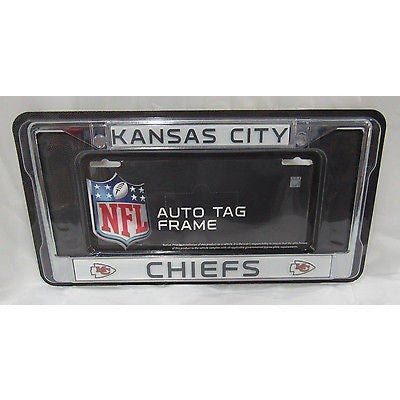 NFL Kansas City Chiefs Chrome License Plate Frame Thin Letters