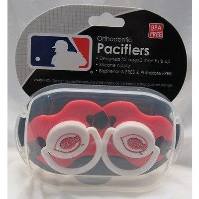 MLB Cincinnati Reds Pacifiers Set of 2 w/ Stripe on Shield in Case