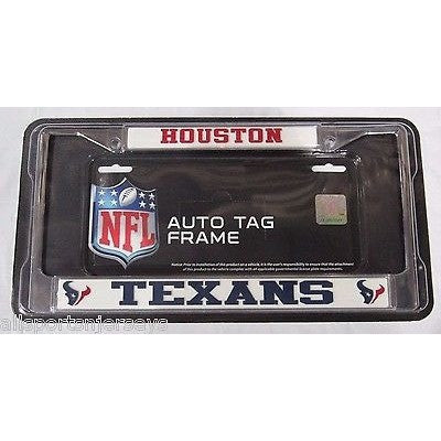 NFL Houston Texans Chrome License Plate Frame Thick 2 Color Letters