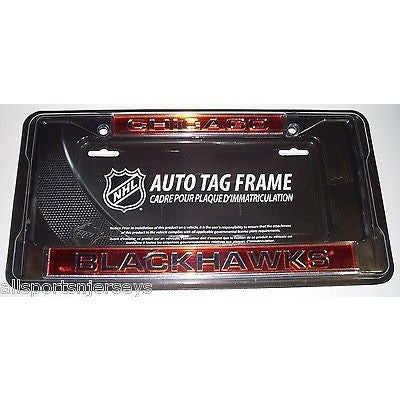 NHL Chicago Blackhawks Laser Cut Chrome License Plate Frame