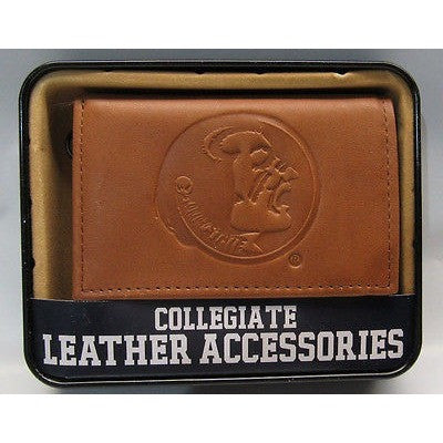 NCAA Florida State Seminoles Embossed TriFold Leather Wallet With Gift Box